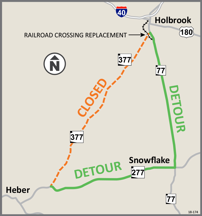 SR 377 Detour Map - Use SR 277 through Snowflake