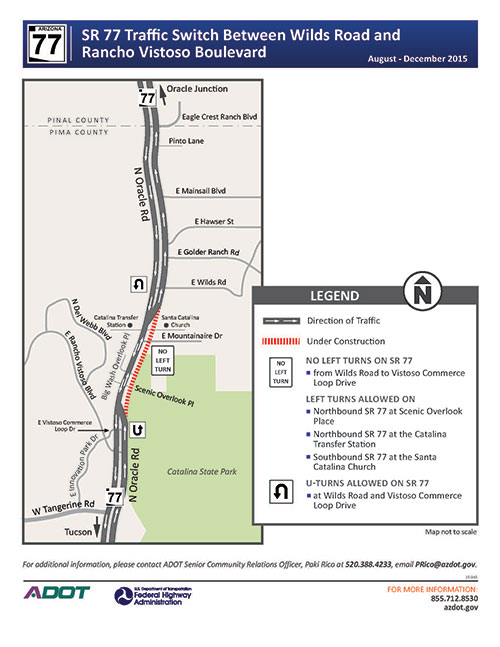 Map for traffic switch between Wilds Road and Rancho Vistoso Boulevard