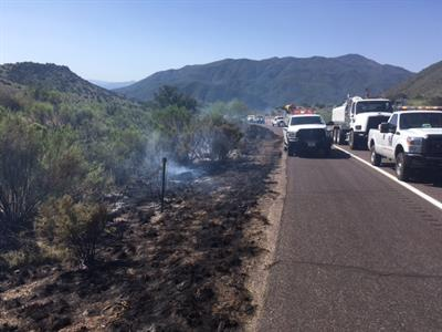 Roadside fire along SR 87