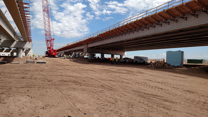 Salt River Bridge Installation on South Mountain Freeway Project