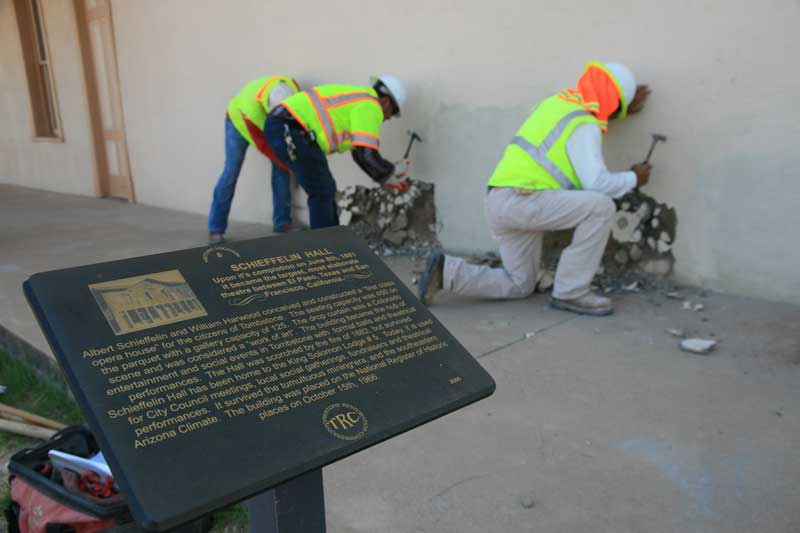 Men working on the I-15 Schieffelin Hall Project In Tombstone