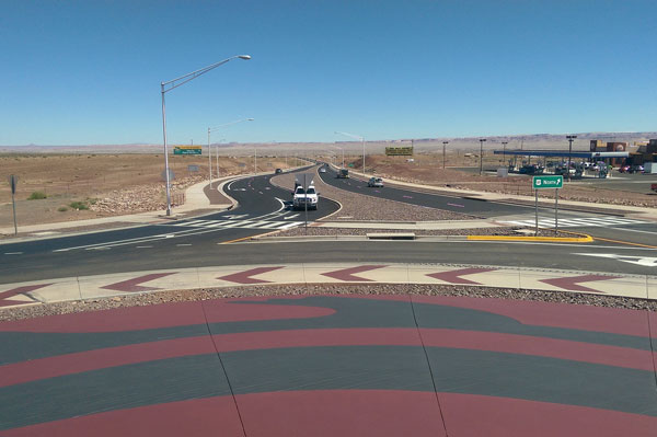 Traffic on the US 89 / Cameron Project Roundabout