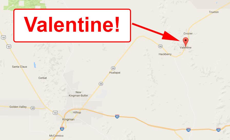 Map to Valentine, Arizona