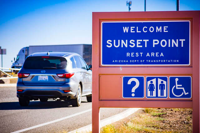 Welcome sign at Sunset Point Rest Area