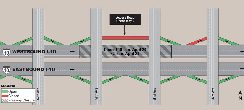 South Mountain Freeway Project - I-10 weekend closure map