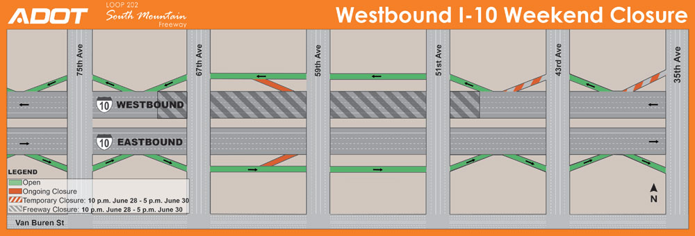 South Mountain Freeway Project: Closure map for Westbound I-10 Weekend Closure between 51st and 67th avenues