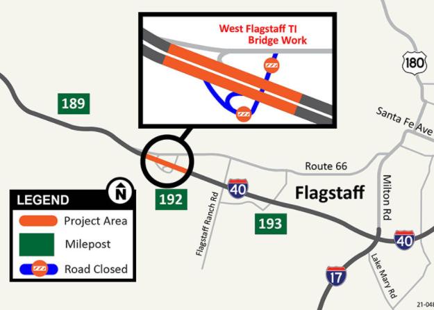 West Flagstaff TI Bridge Work Map