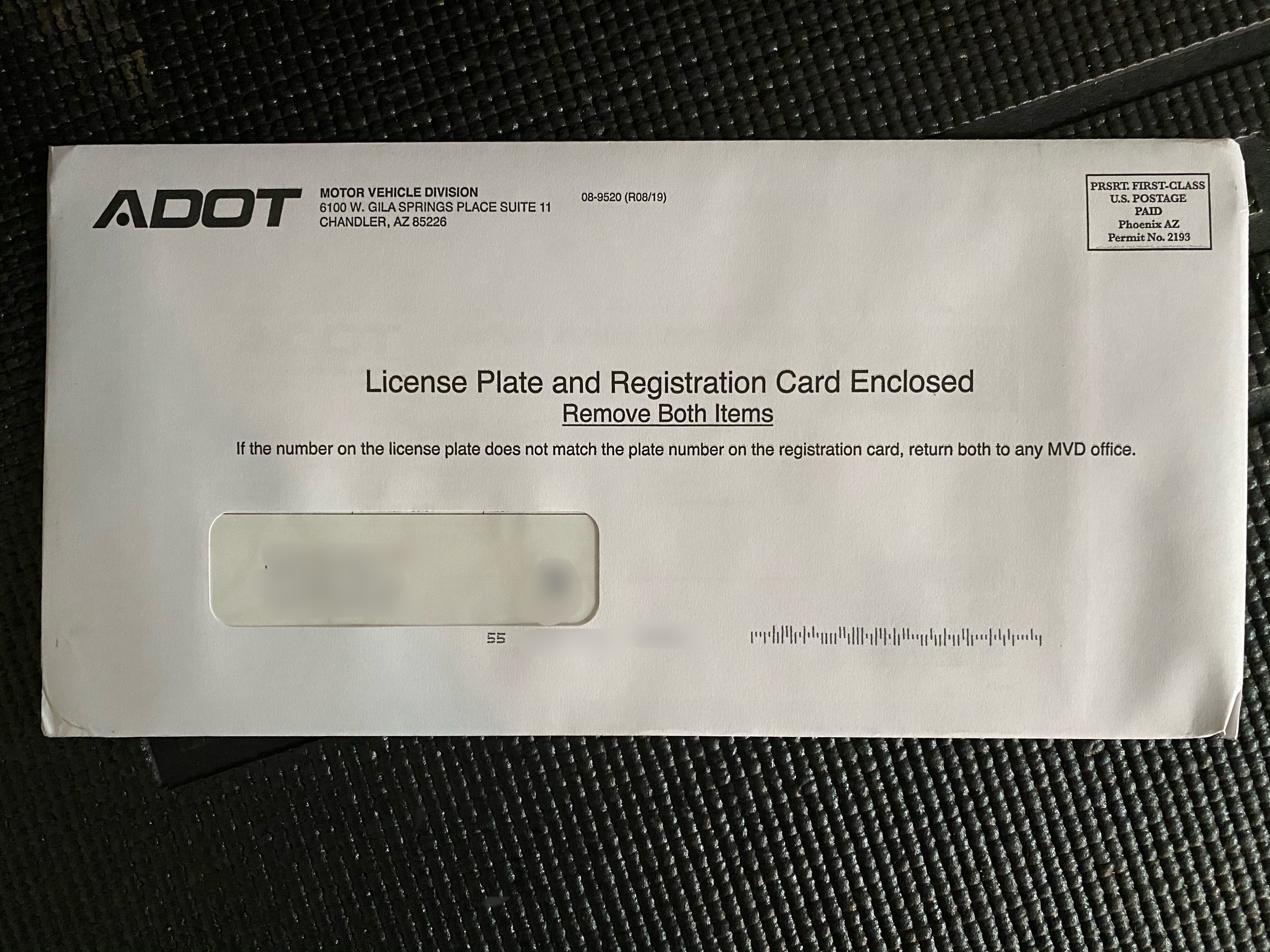 Plate and tab envelope
