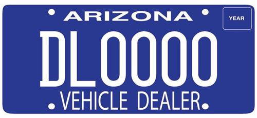 Redesigned Dealer license plate in bright blue and white