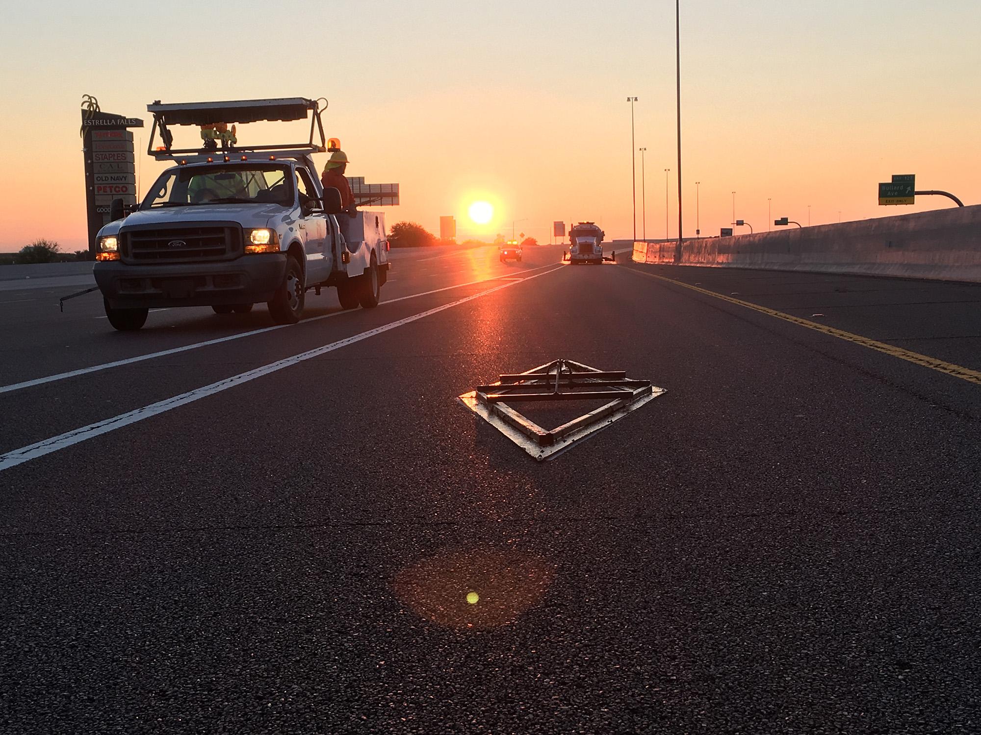 Reverse Diamond Stencil at Sunrise
