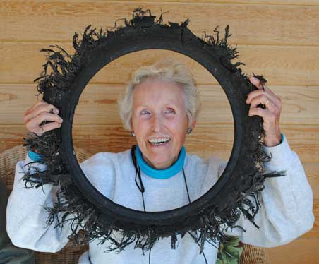 """Ruth Nelson with """"Tire Wreath"""""""