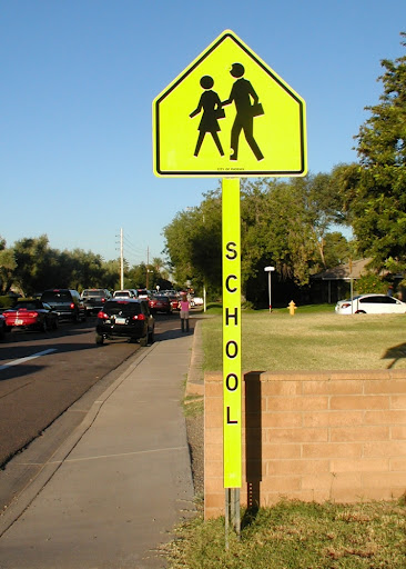 Yellow School Crossing Sign