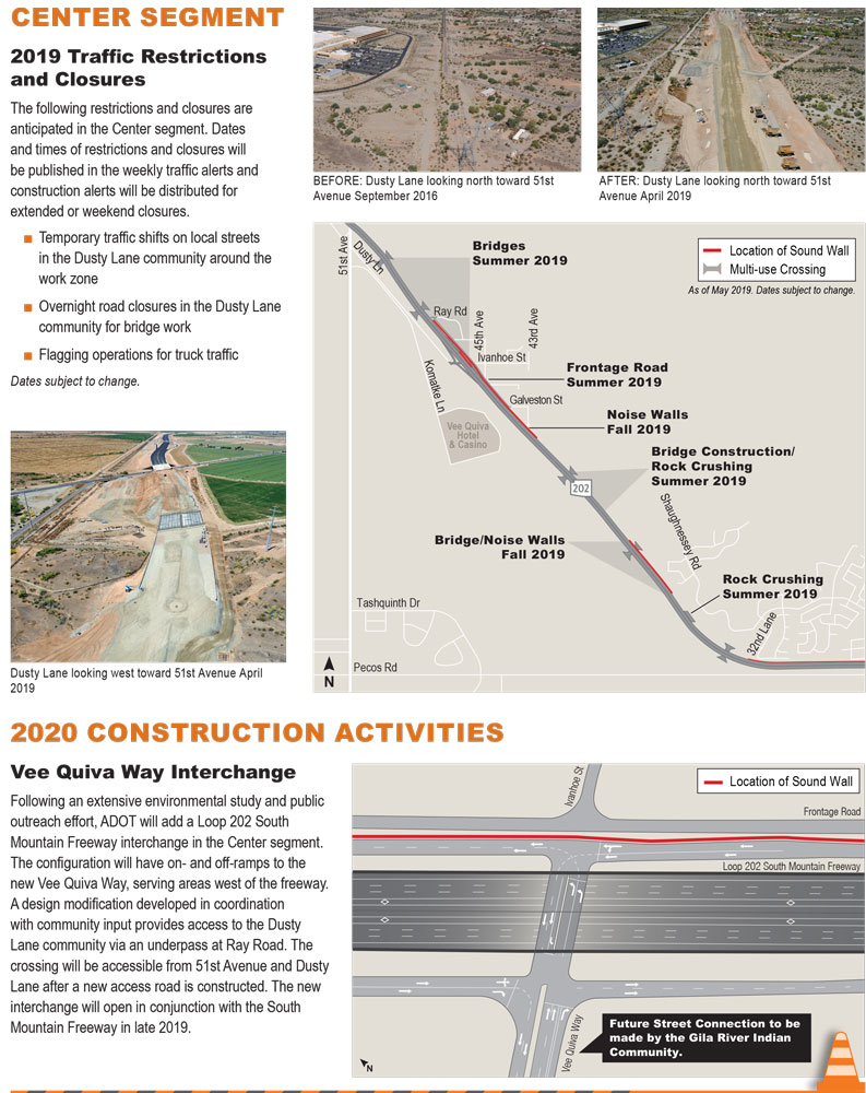 Center Segment Construction Schedule - Loop 202 (South Mountain Freeway)
