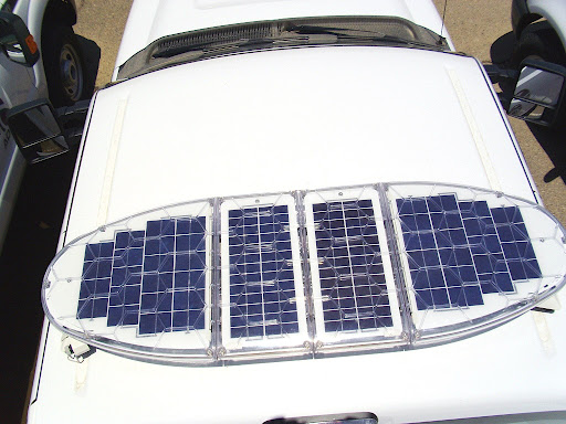 A top view of solar panels
