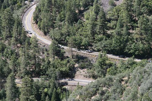 Cars driving on SR 89a Switchbacks