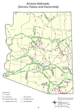 Arizona Railroads Map