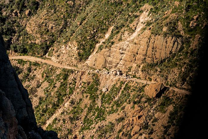 Aerial view of damage to SR 88. The road remains closed between mileposts 222 and 229.
