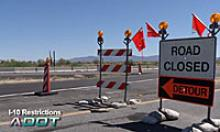 ADOT I-10 Restrictions - Highway with Road closed signs