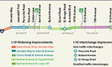 Map of improvements for I-10 (Papago Freeway)