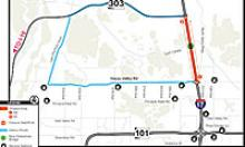 Map illustrating I-17 closure between Happy Valley Road and Loop 303