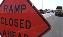 Ramp closed sign in roadway