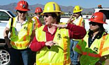 Phoenix Construction District Engineer Julie Kliewer leads a tour Loop 303 for female engineering students