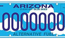 Alternative fuel license plate white clouds on a blue background