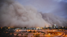 Dust storm over city
