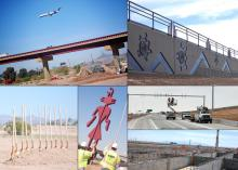 Photo collage: 747 airplane flies parallel to freeway overpass, rustication on a new sound wall, shovels sticking up from a mound of dirt for a ground breaking, works in cherry picker installing overhead signs, concrete and rebar support walls.