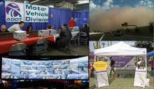 Photo Collage: MVD Stand Down for Veterans, Dust Storm, Traffic Operations Center wall of screens, public information booth.