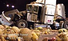 Produce spilled on the roadway