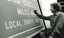 Workers creating road signs in 1979
