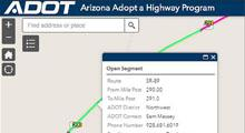 Adopt a Highway interactive map with segment details pop up.