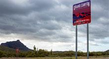 Grand Canyon Centennial Sign installed along side roadway