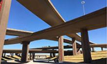 Multiple crossing flyover lanes of a new traffic interchange