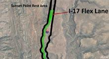 Map of I-17 south of Sunset Point where proposed flex lanes will be placed.