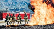 Grand Canyon National Park Airport  firefighters train on mock-ups of a variety of hazardous situations