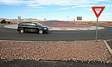 Vehicle navigates the new roundabout in Cameron
