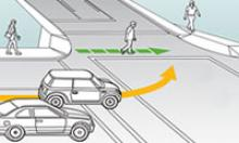 Artist rendering of intersection with pedestrian in a crosswalk and vehicle making a left hand turn.