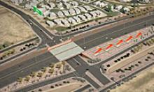 Aerial view of the projected completed South Mountain Freeway