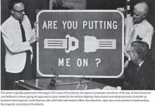 "1971 Road Sign: ""Are you putting me on?"""