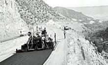 1969 black and white photo of crews paving I-17 near Camp Verde.