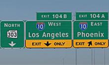 Loop 303 freeway ramp signs