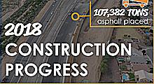South Mountain Freeway 2018 Construction Progress - 107,382 tons of asphalt placed.