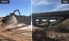 Before and After picture, demolished bridge and new bridge.