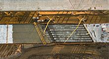 Aerial view of the South Mountain Freeway overpass deck pour