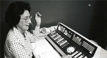 Florence Daniels as she operates one of the new automatic-dial switchboards.