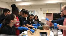 Students from Copper King Elementary School in Phoenix learned how math and science skills are used to build roads and other infrastructure while touring an ADOT Materials Lab.