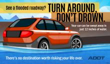 Don't cross a flooded roadway
