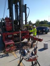 ADOT crew operating a large drill